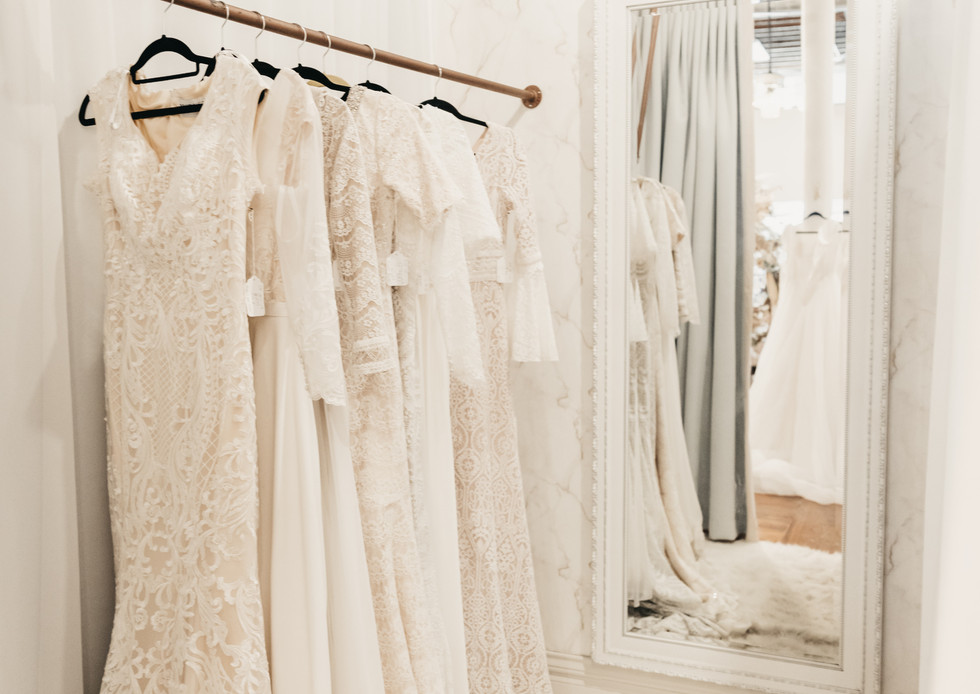 Wedding dresses in dressing room