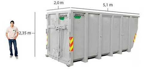20 kub. åpen LIFT container til gips med flis til leie i Oslo/Akershus/Drammen