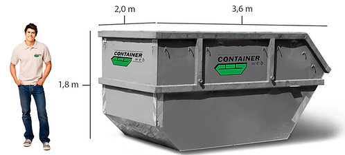 10 kub. åpen container til hageavfall til leie i Oslo/Akershus/Drammen