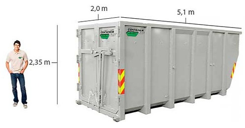 20 kub. åpen LIFT container til trevirke til leie i Oslo/Akershus/Drammen