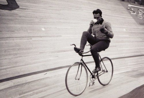 Drinking a coffee while cycling