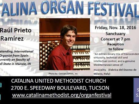 2016 - November 18th   The Raul Experience hits the Catalina Organ Festival in Tucson, AZ (USA)