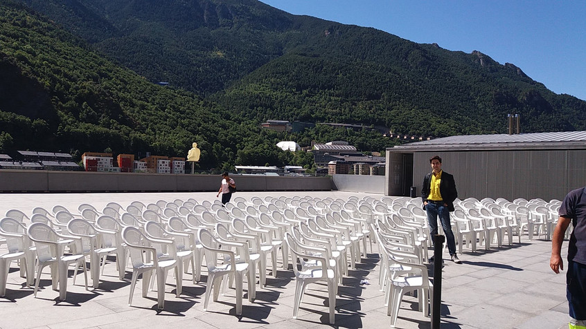 Chairs are being set up