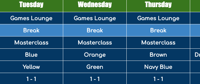 This weeks lesson schedule