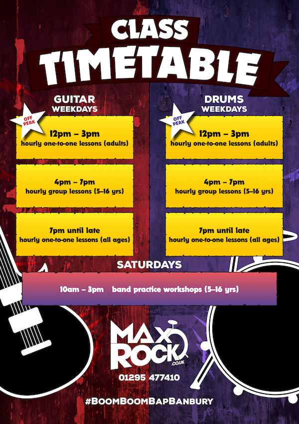 MaxRock Music Lessons Banbury Timetable