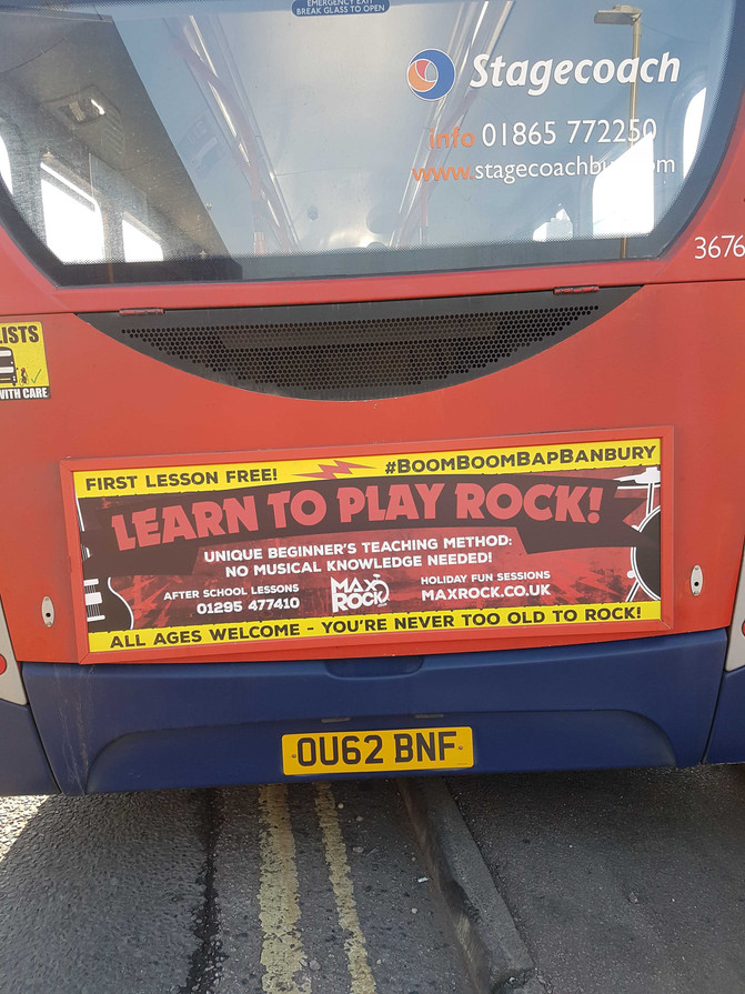 """MaxRock 'On the Buses"""" advertising Drum and Guitar lessons around Banbury"""