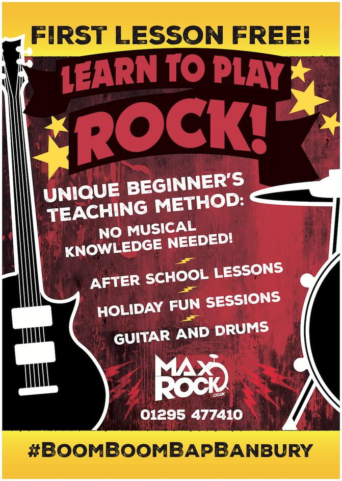 Seen the new MaxRock Sandwich Board offering Rock music lessons?