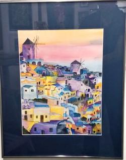 Santorini watercolor, C.Pasco