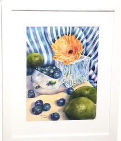 Blueberry Season watercolor, M.Chabot