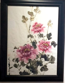 Peonies Dancing Sumi ink on rice paper,