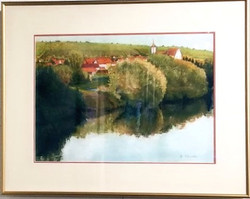 Reflections on the Rhine pastel, Y.Kosek