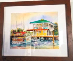 Along the Manatee River watercolor, M.Ch