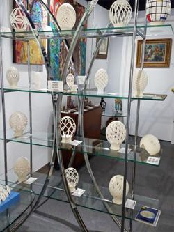 Bill Johnson carved pstrich eggs