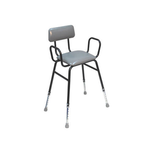 Perching Stool with Padded Back and Arms