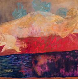 Celestial Fish 4' x 4'  oil on canvas 2009