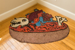"Hearts and Bones 3' x 4' x 2"" Installation, wood shavings, acrylic paint 2011"