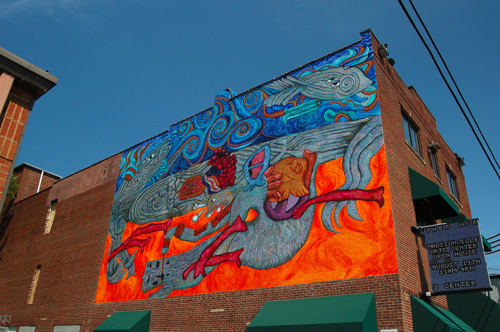 Artworks Mural: Fish, Sea and the Scribe 45' x 45' Acrylic paint on brick 2007