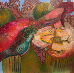 Horseshoe Crab and Glyphs 4' x 4' Oil on Canvas 2007