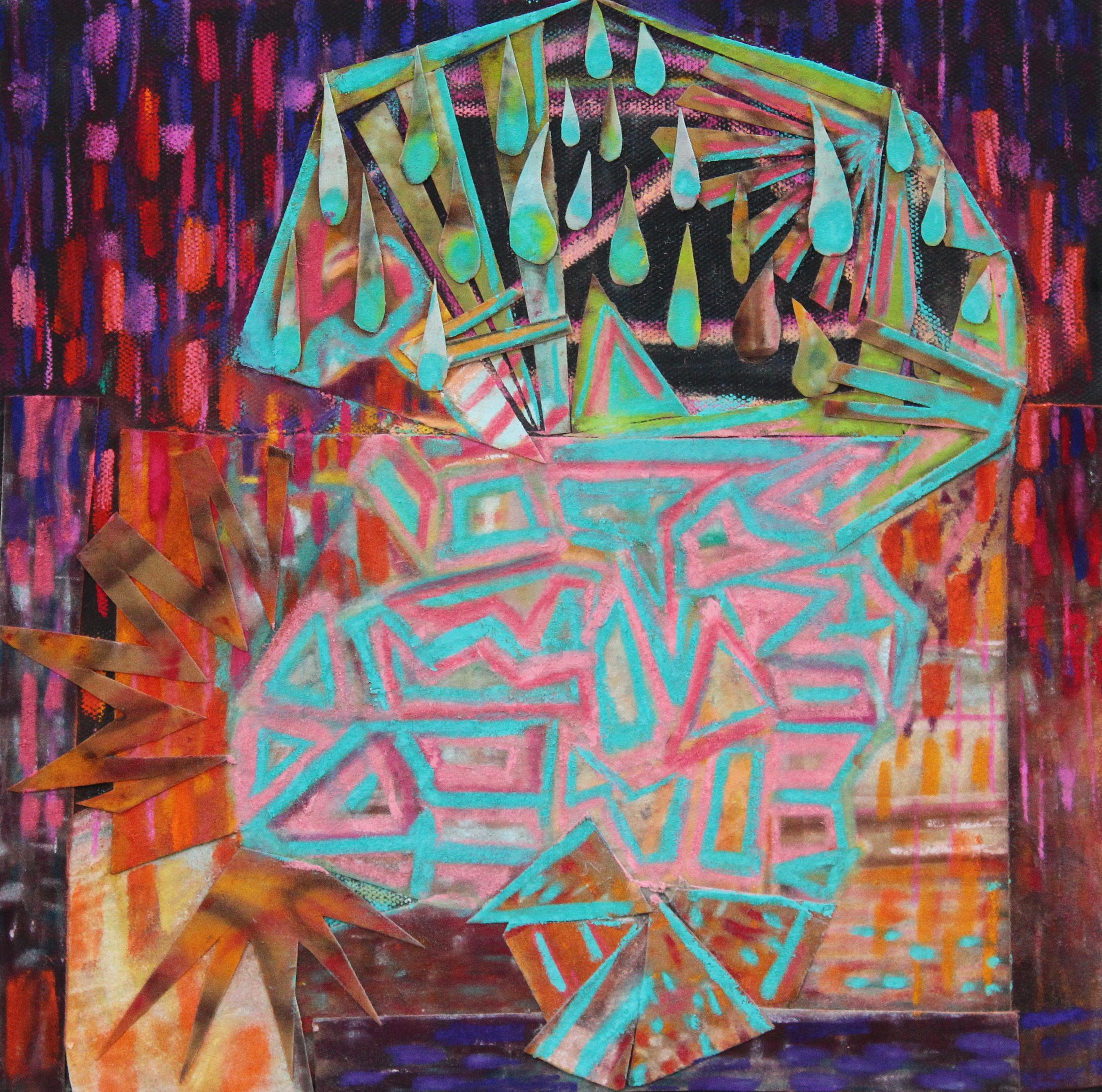 """Embarazo 24"""" x 24"""" mixed media on canvas 2017"""