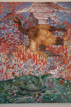 Wild Geese 4' x 3' Oil on mixed media on canvas 2009
