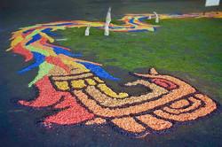 Quetzalcoatl (detail) Installation, wood shavings, acrylic paint, pine needles, copal resin 2009