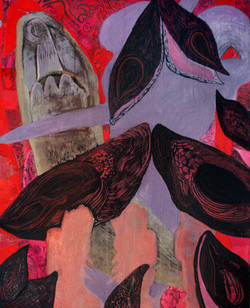 Wade through Black Jade 6' x 4' Oil and mixed media on canvas 20