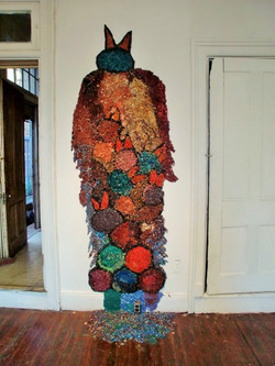 "Chamula Birds 7' x 3' x 2"" wood shavings, acrylic paint, silicon gel 2010"