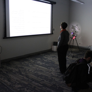 Visitor interacting with Red Dot Prompter