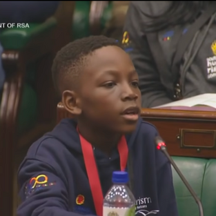 Child asking for the right to vote at South African Parliament