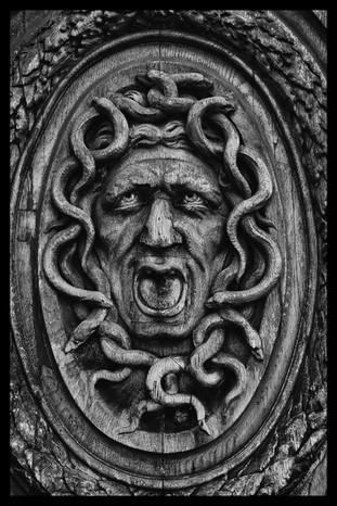 Medusa carving on a door in the Marais.J