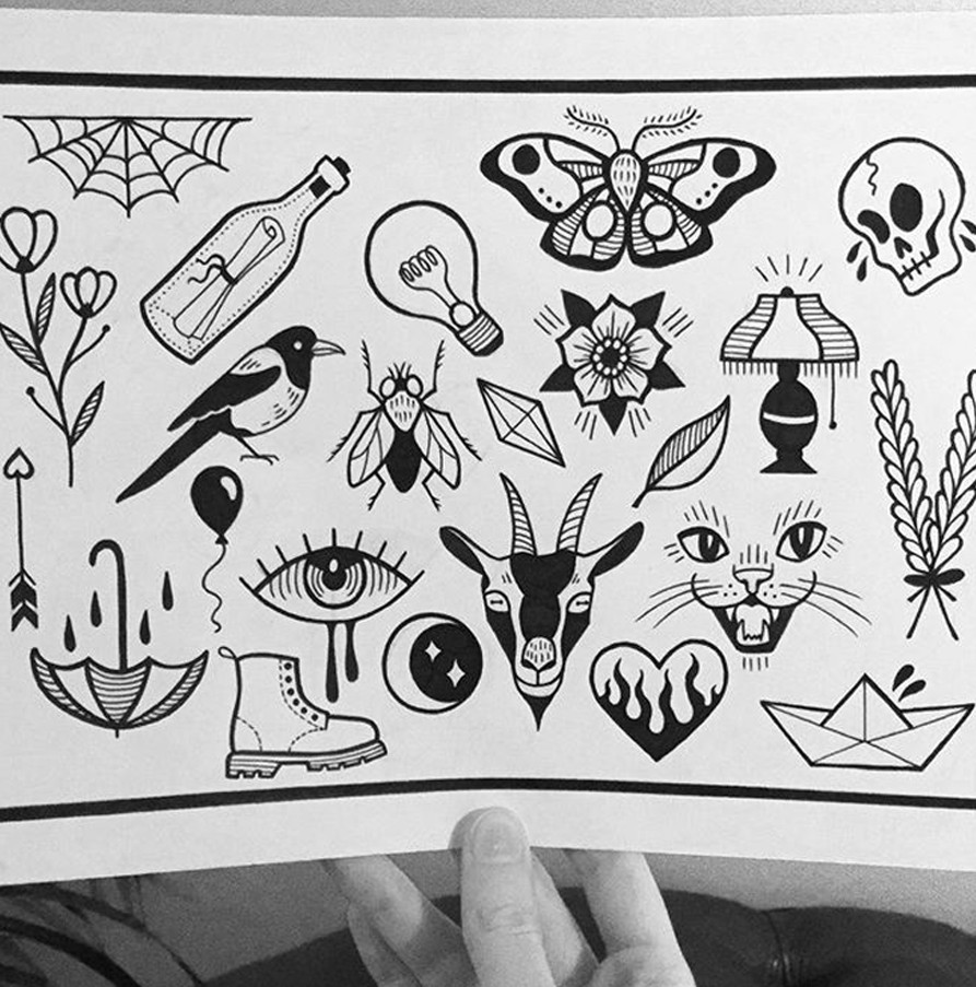 Affordable tattoos on a flash sheet