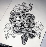 Unisex dotwork snake design