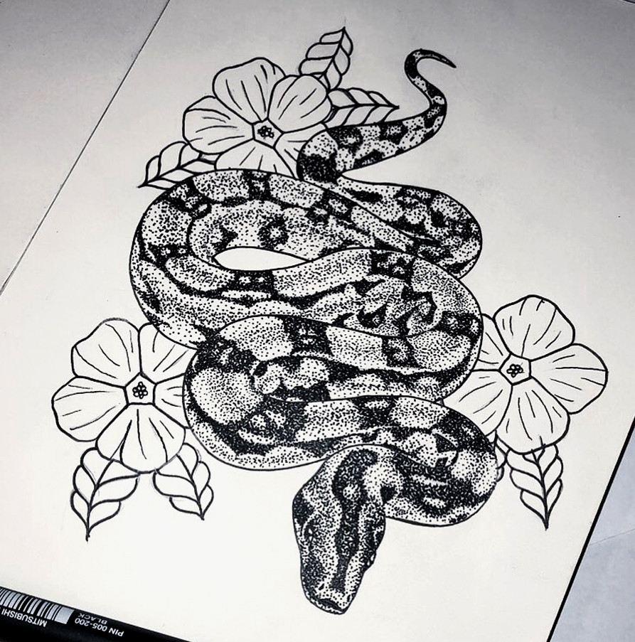 Snake tattoo drawing with flowers
