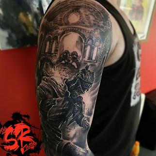dark souls gamer tattoo sleeve in blackn