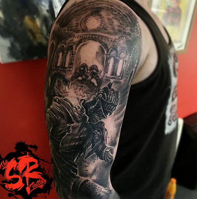 dark souls gamer tattoo sleeve in blackn