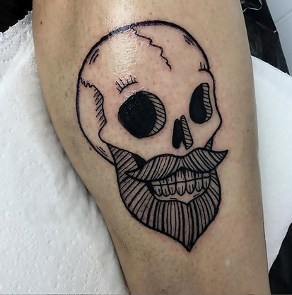 Bearded skull tattoo design