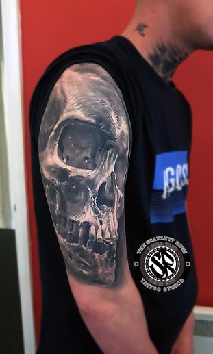 Healed 3D Skull tattoo