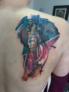 Elephant water colour tattoo