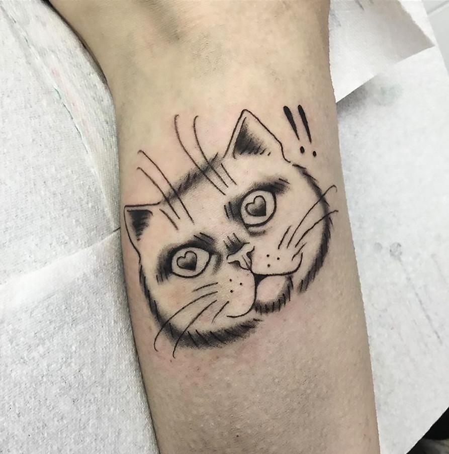 little cat cute tattoo
