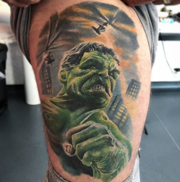 colour hulk tattoo marvel inspired custo