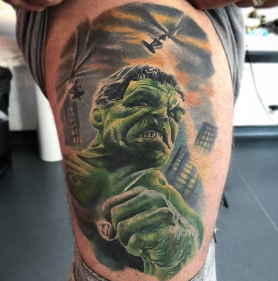 Hulk Marvel thigh Tattoo