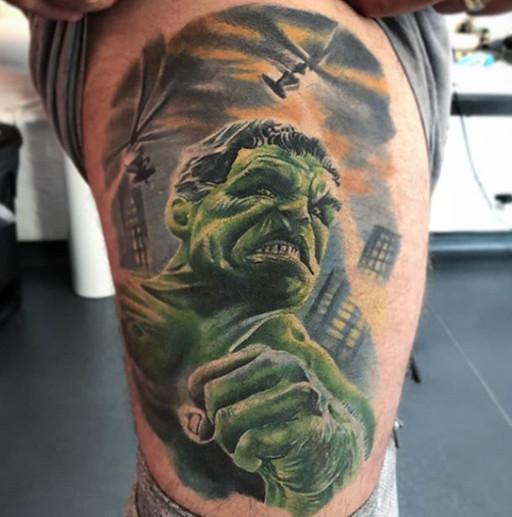 Hulk Marvel thigh Tattoo