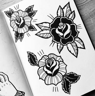 Rose designs on a tattoo flash sheet