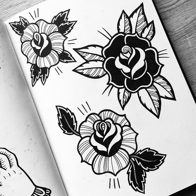 Rose designs on a tattoo flash sheet