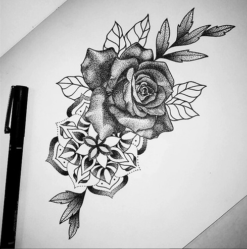 Rose and mandala pen drawing design