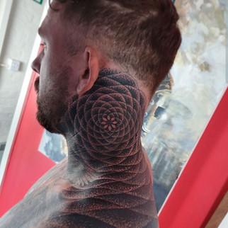 Mandala Dotwork Geometric pattern neck tattoo