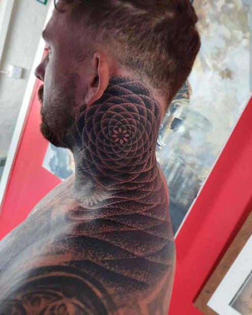 Geometric Neck Tattoo