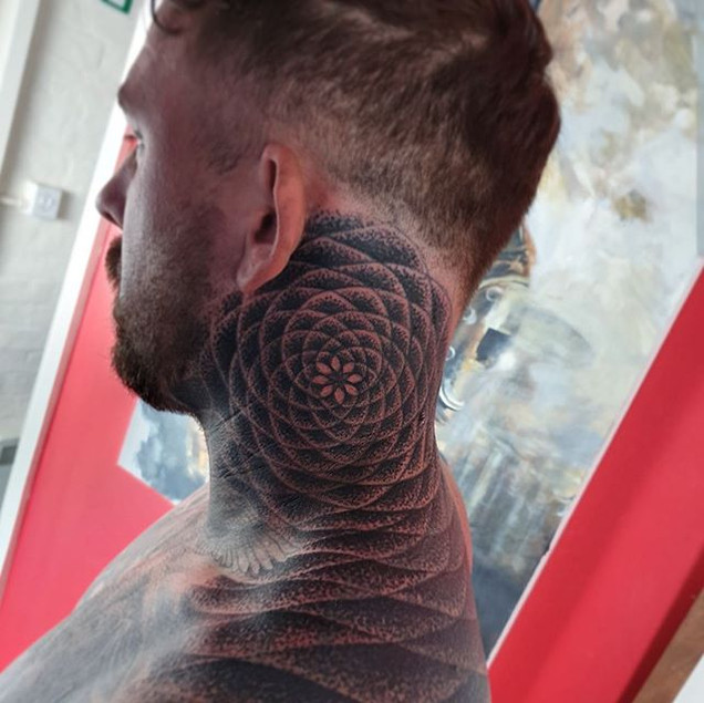 Mandala Dotwork Geometric pattern neck tattoo