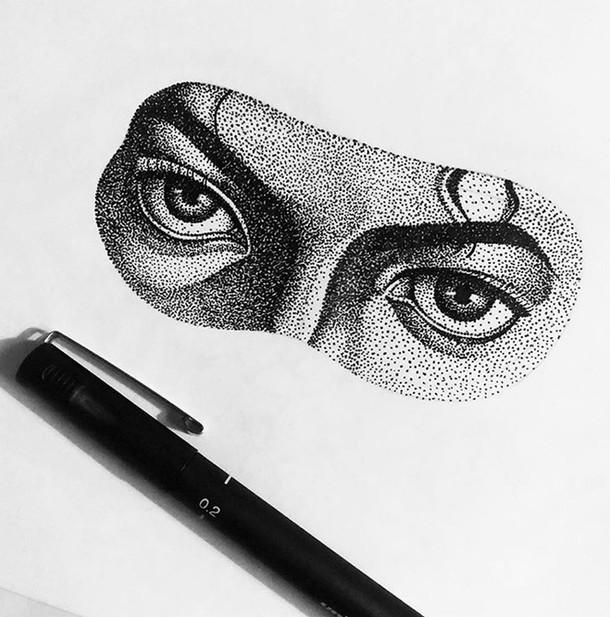 Dotwork MJ eyes pen drawing