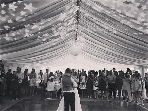 Bride & Groom's first dance, dancing under the stars